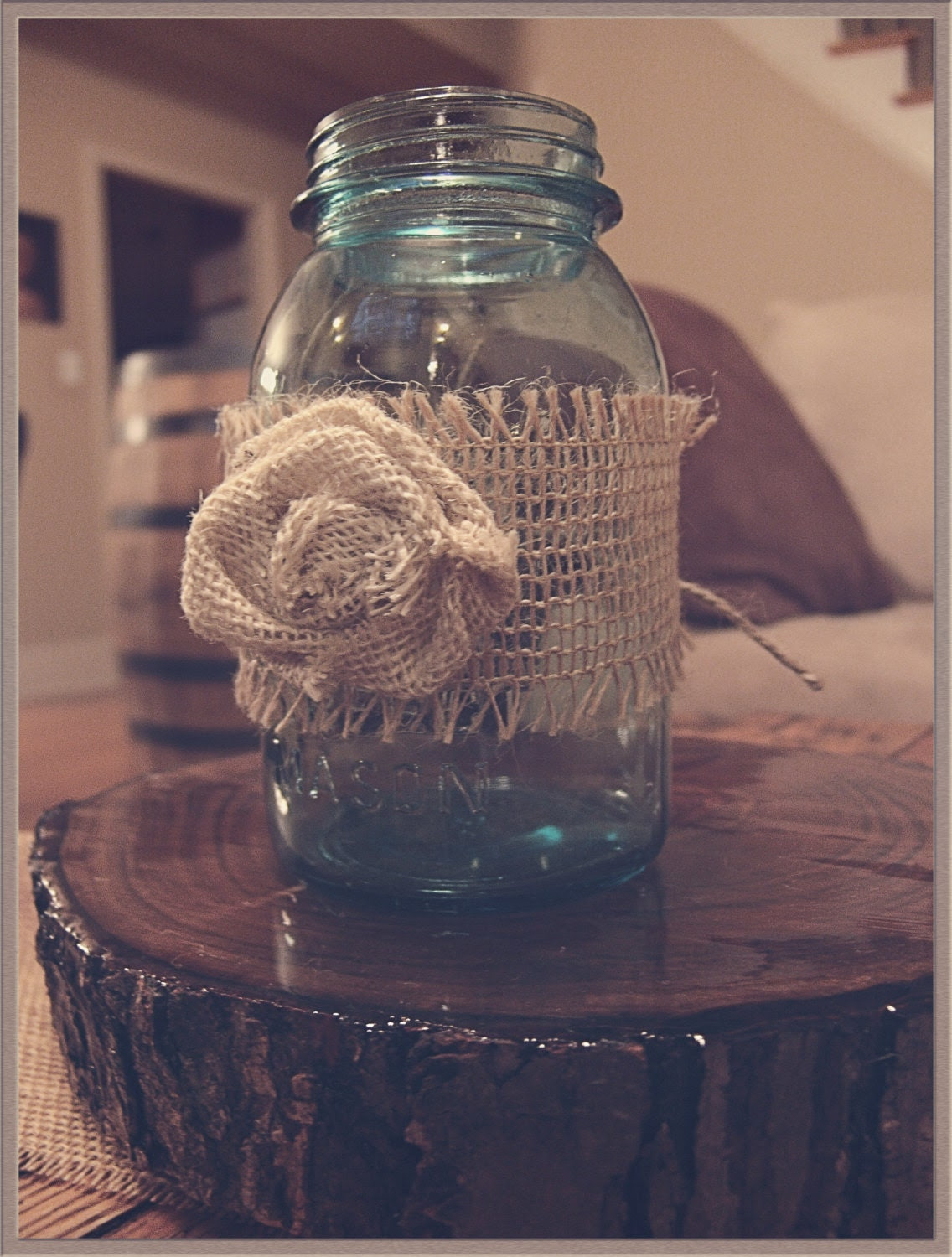 Burlap Mason Jar Wrap,wedding centerpiece,rustic wedding,table decoration,floral arrangement,burlap wedding,country wedding,jar centerpiece