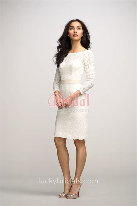 Chic Ivory Boat Neck Lace Knee Length Bridesmaid Dress