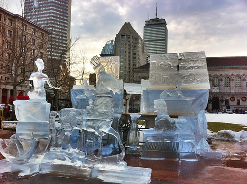 She's Melting! Copley Square First Night Ice Sculpture in 60 Degrees