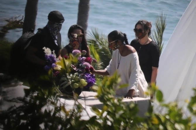Michael  B Jordan and Black Panther co-stars join Chadwick Boseman?s wife and family for his memorial in Malibu (Photos)
