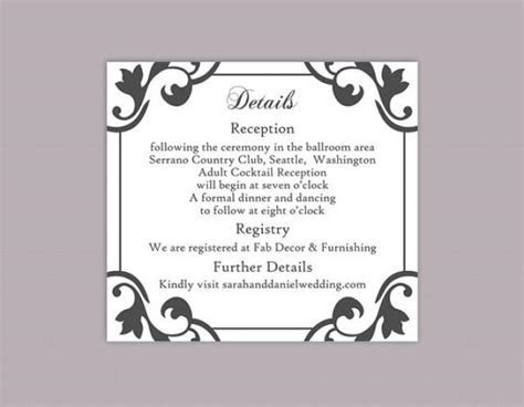 DIY Wedding Details Card Template Editable Word File