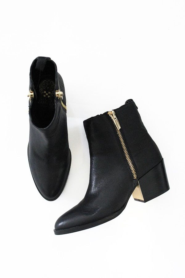 Le Fashion Black Ankle Boots With Double Zipper Gold Metal Heel Blog Budget Friendly Shoes Winter Style Vince Camuto Macys