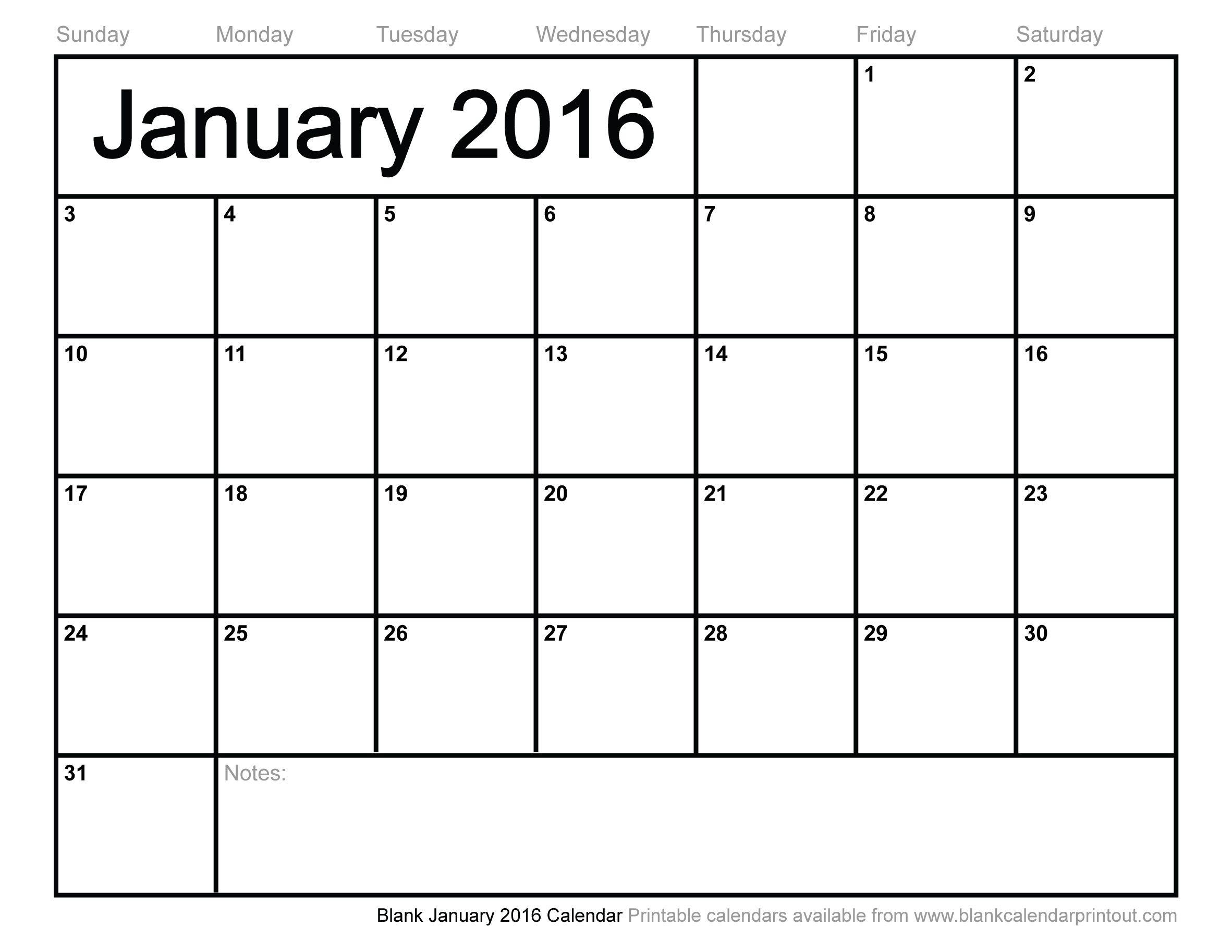 Blank January 2016 Calendar to | 2017 Calendar | Pinterest ...