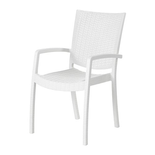 INNAMO Chair with armrests, outdoor - white - IKEA