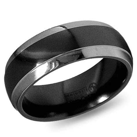 e  Wedding Bands! Manly man. Love the black & grey