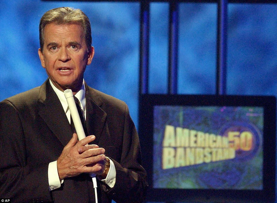 Great loss: Dick Clark, pictured in 2002, had hosted 'Dick Clark's Rockin' New Year's Eve' since 1974; he passed away in April of a heart attack