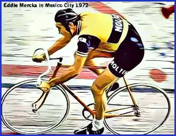 Eddy Merckx en su intento de la hora del 1972