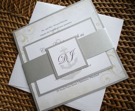 Nautical Wedding Invitation set, anchor wedding
