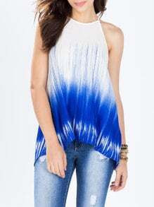 White Blue Spaghetti Strap Color Block Cami Top