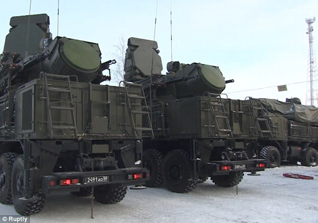Trucks line up in Moscow as the s-400 Triumph air defence system is set to be deployed
