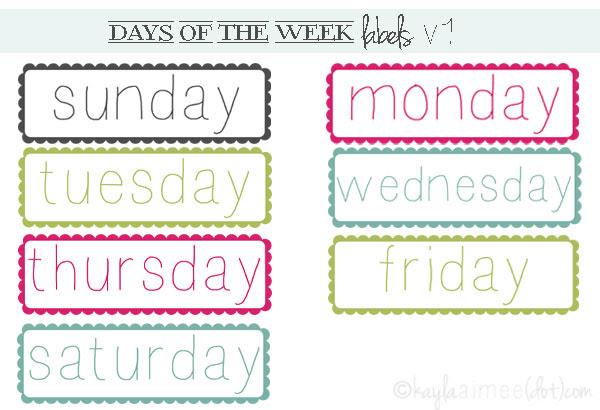 Number Names Worksheets : days of the week printable ~ Free ...