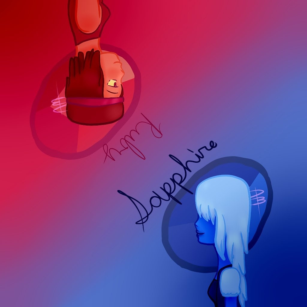 Some fanart of ruby and sapphire from Steven Universe!
