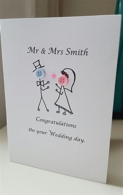Hand Made Personalised Wedding Day Cards Button Heads