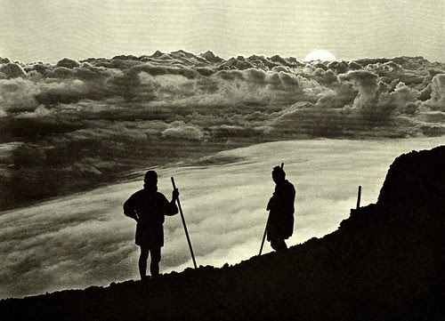 SUNSET FROM THE SUMMIT OF FUJI -- The Photographer Catches His Shot At the End of a Long Climb by Okinawa Soba
