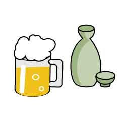 アルコール類ビールお酒メディカルイラスト図鑑無料の医療