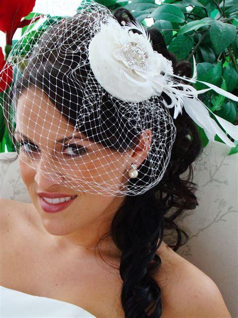 Exquisite Flower Bridal Hat & Birdcage Veil Blusher Clip