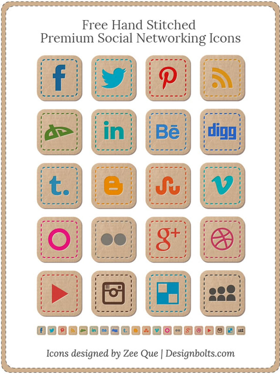 Free Hand Stitched Premium Social Networking Icons