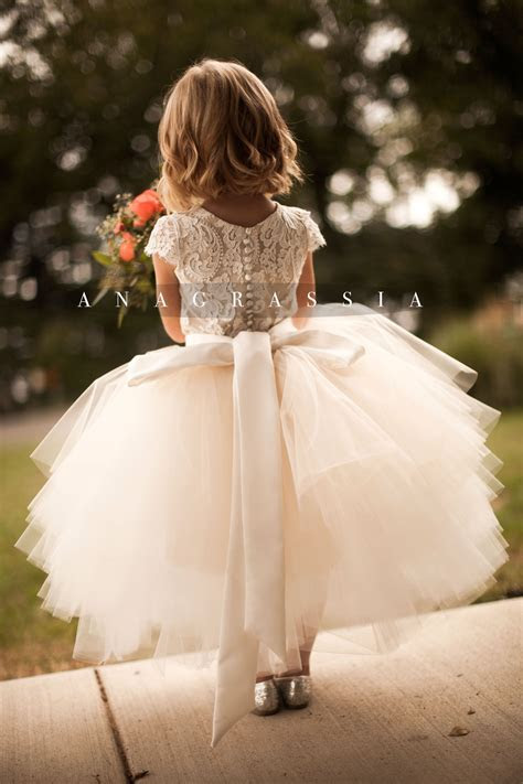 ANAGRASSIA flower girl dresses: ivory/champagne lace