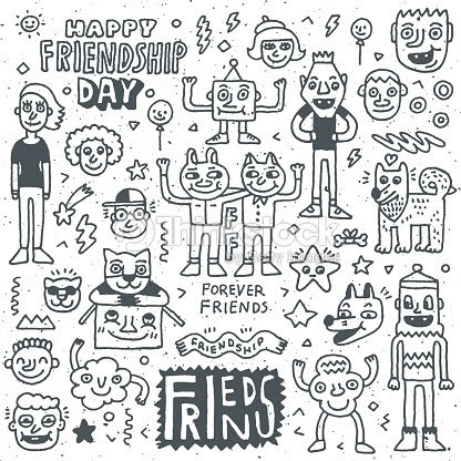 Happy Friendship Day Funny Friends Cartoon Doodle Set Vector Art