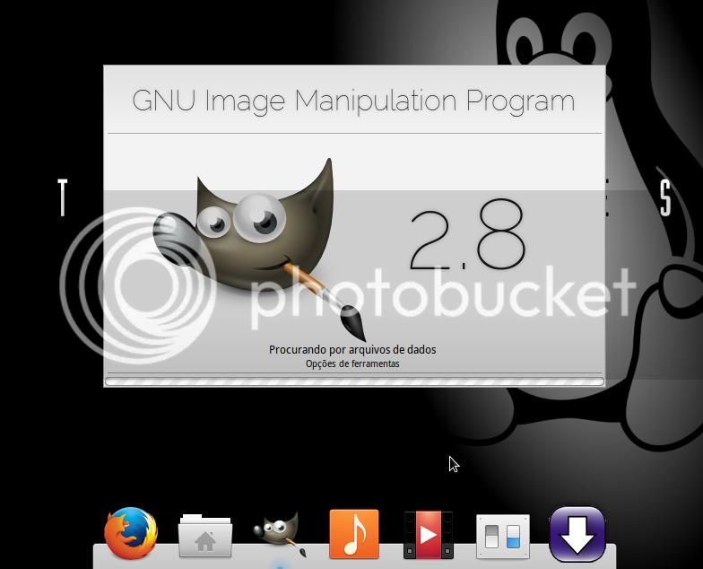 Splash de inicialização do GIMP - Esta imagem do splash é uma imagem personalizada para ficar com a mesma temática do sistema operacional. Gimp-Splash Elementary OS Style por Phelipefox, para alterar esta imagem, acesse a pasta onde seu software foi instalado Ex.: /usr/share/gimp/2.0/images/