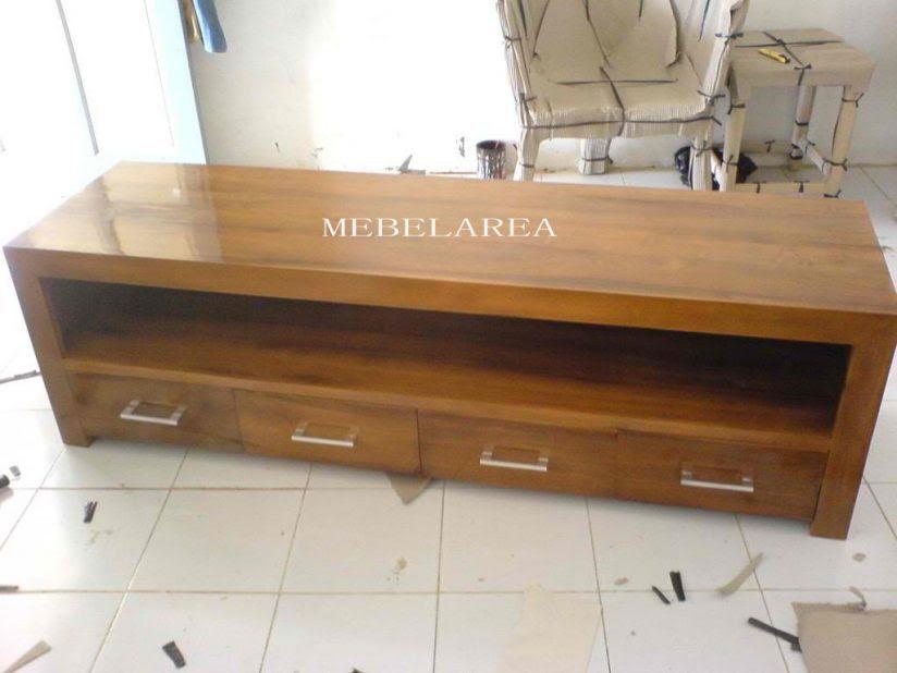 Meja Tv Minimalis Kayu Jati Solid Desain Modern Mebel Jepara