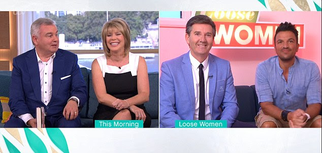 Getting along: Peter linked up with This Morning hosts Ruth Langsford and Eamonn Holmes, who were in the same studio as Katie from the Loose Women studio