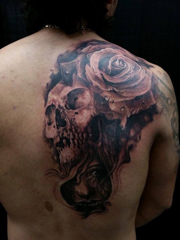 Half Back Skull And Rose Tattoo Chronic Ink