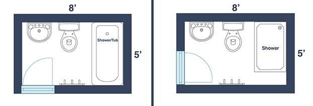 Tiny Bathroom Layout Floor Plans Square Feet