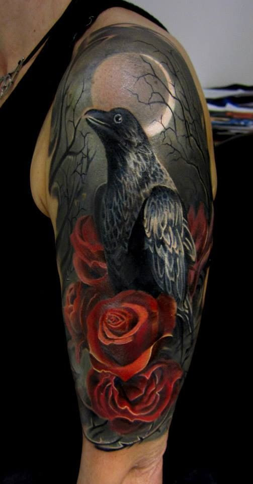 Crow Tattoo Images Designs