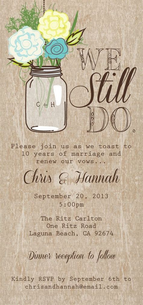 Mason Jar Printable Invitation, Rustic Wedding Invitation
