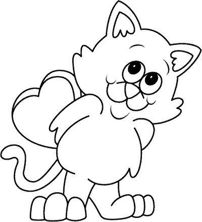 Dibujo De Gato Enamorado Dibujo Para Colorear De Gato Enamorado