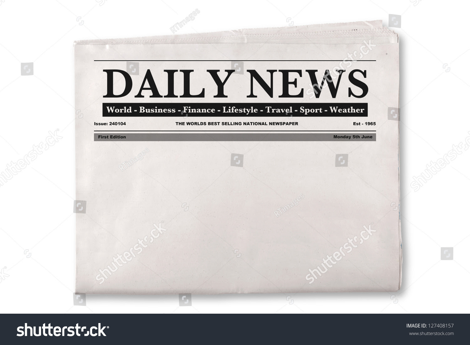Mock Blank Daily Newspaper Empty Space Stock Photo 127408157 ...