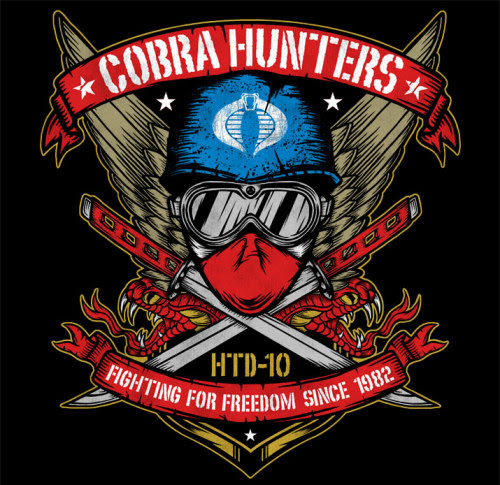 """Chris Parks made a bad ass """"Cobra Hunters"""" shirt design for Hasbro employees to wear while at the G.I. Joe Collectors' Convention. Related Rampages: Mariachi Shirt 
