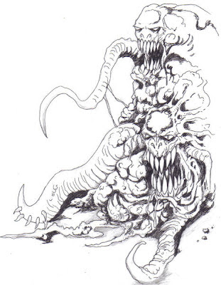 A Monster Thing Pen And Pencil Sketch