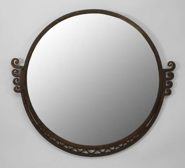 Round Art Deco Wall Mirror Attributed to Raymond Subes at 1stdibs