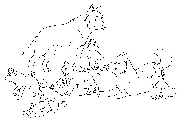 Free Wolf Pack Lineart by machinewolf2 on DeviantArt