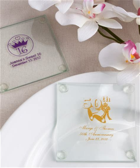 Anniversary Custom Personalized Glass Coasters