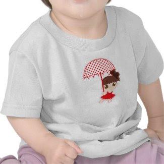Niña con paraguas camiseta infantil