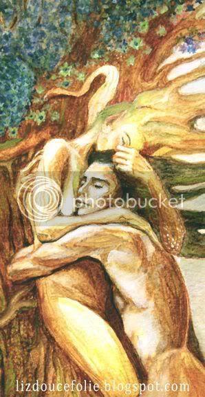 étreinte aquarelle watercolor lover love amants amour amoureux hug tendresse tenderness couple enlacé calin arbre amoureux