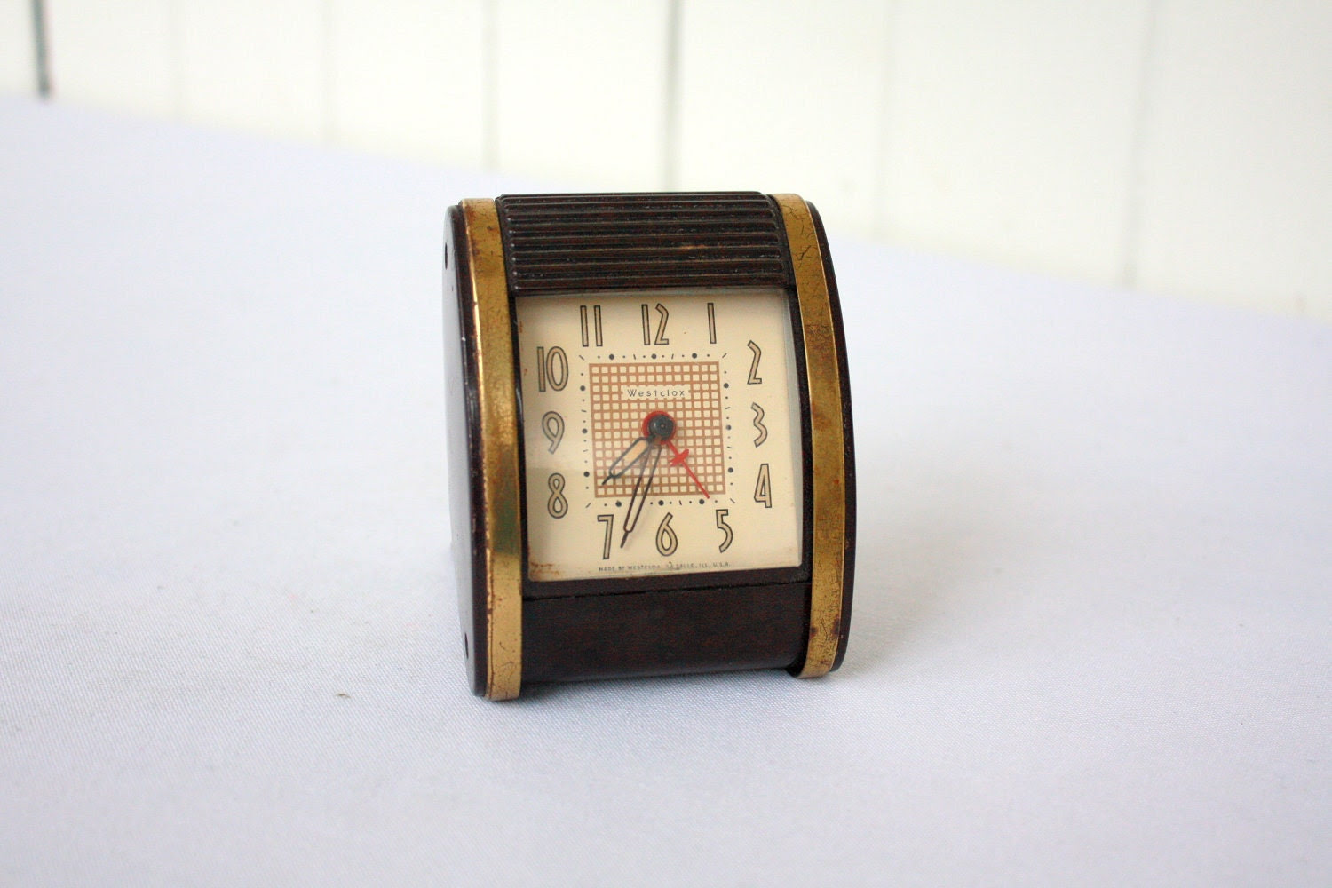 Vintage Westclox Alarm Clock, Travel Clock, Mid Century Clock, Wind Up Clock - SummerHolidayVintage