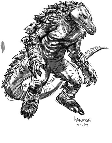 "'Leatherhead' rough - too..by Paul Harmon for the upcoming ""Tales of the TMNT"" v2. #50 [[ Via Leatherhead creator - Ryan Brown ]]"
