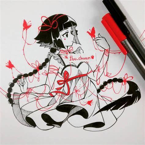 random girl inked   staedtler red  black