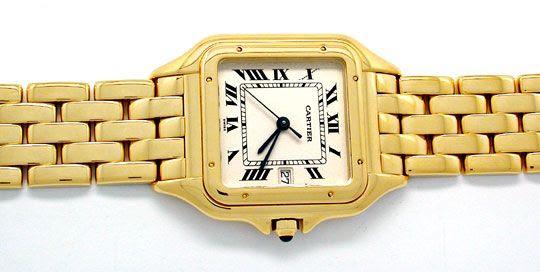 Foto 1, Cartier Panthere Herren-Uhr Gelbgold Geprüft Neuzustand, U1930
