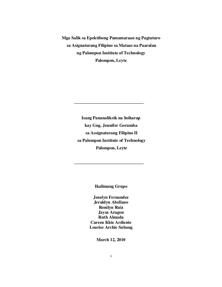Filipino Thesis Title Tagalog - Thesis Title Ideas For College