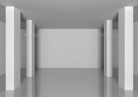 Abstract interior in room with blank grey walls Stock Photo by ...