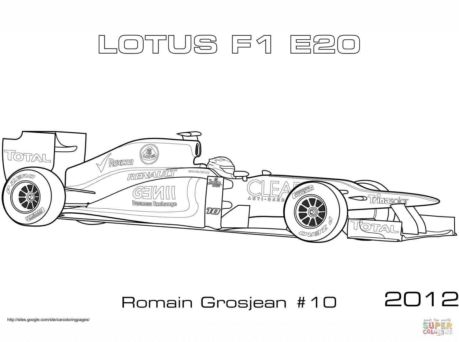 Formule 1 Lotus 2012 E20 coloriages pour visualiser la version imprimable ou colorier en ligne patible avec les tablettes iPad et Android