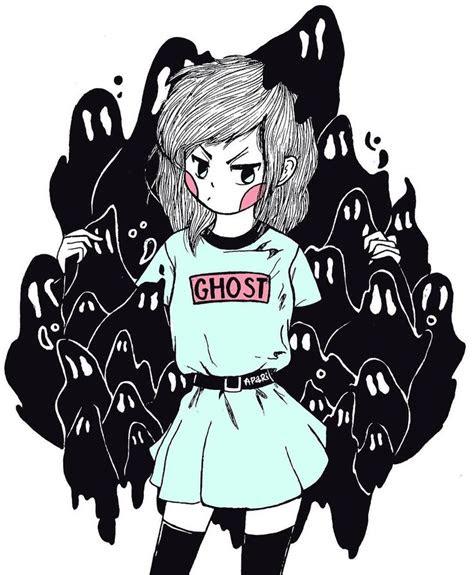 apari art inktober  kawaii pastel aesthetic ghost girl