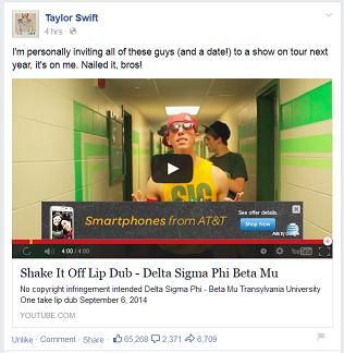 Taylor Swift Likes Frat Lip Sync to Shake It Off!