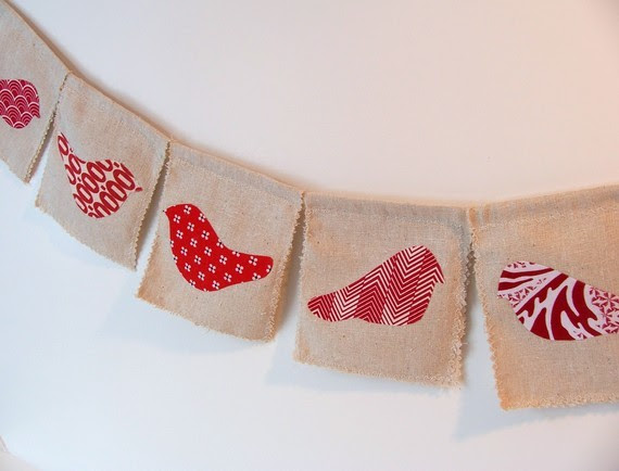 Red Birds Handmade Fabric Bunting Prayer Flags by Lindy by the Sea contemporary nursery decor