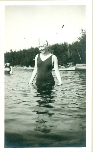old bathing garb woman in pool